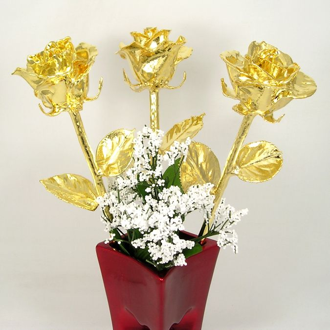3 Valentines Day 18 24k Gold Dipped Roses Red Vase Love Is A Rose