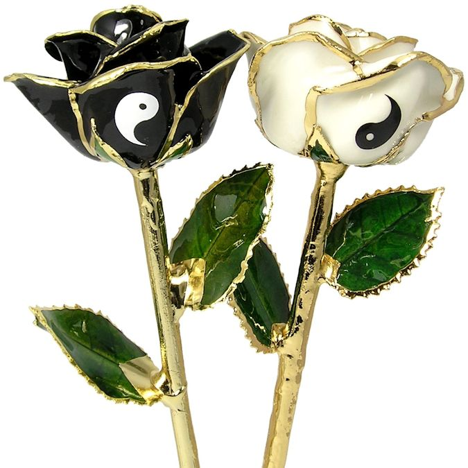 2 Yin-Yang Black and White Personalized Roses