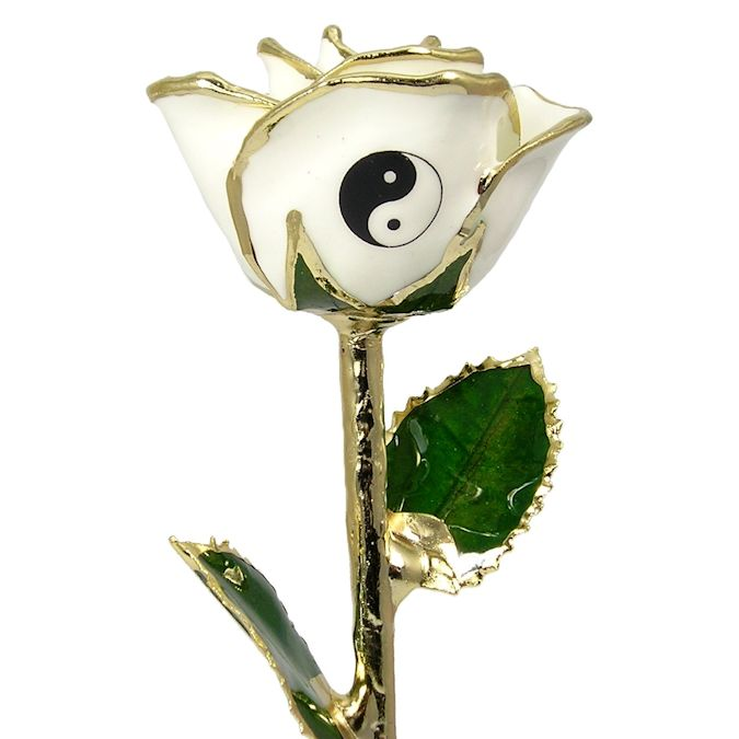 Personalized Yin-Yang White Rose: 11in.