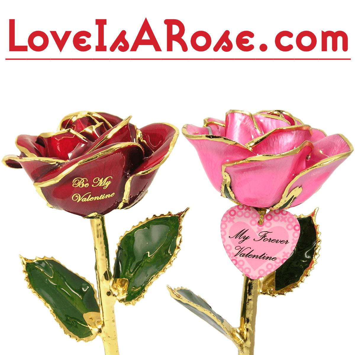 Glass Crystal Red Rose Gold Stem Romantic Gift Idea Anniversary Birthday